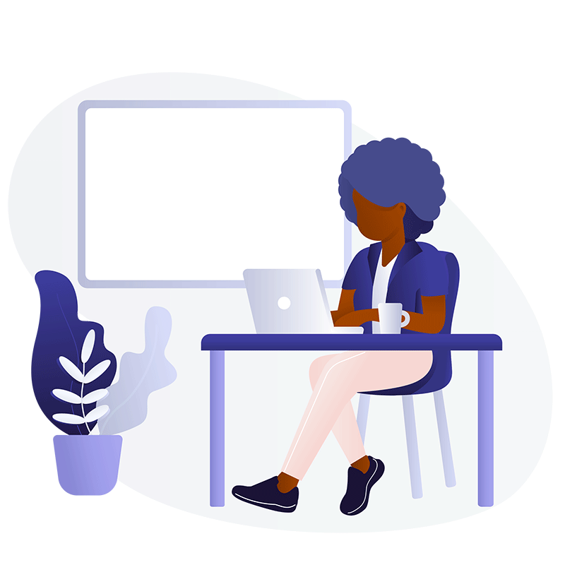 Illustration of black woman using a laptop at a table with a whiteboard and plant in the background. Illustration by: blackillustrations.com